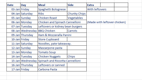 meal plan january 2014